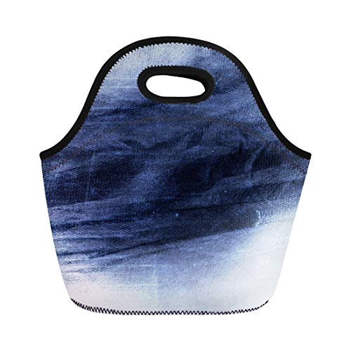 (Semtomn Neoprene Lunch Tote Bag Denim Blue Old Canvas Antique Distressed Paint Woven Abstract Reusable Cooler Bags Insulated Thermal Picnic Handbag for Travel,School,Outdoors,Work)