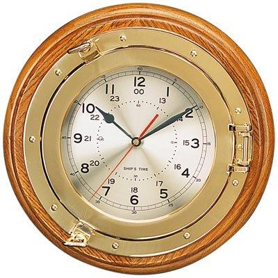 13.75'' Polished Brass Quartz Porthole Clock by HS