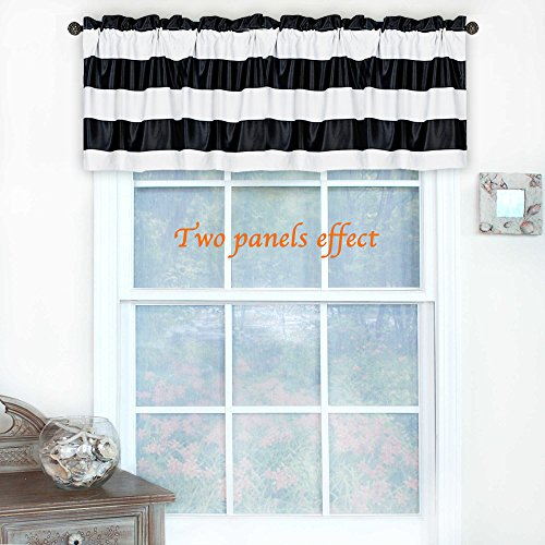 TURQUOIZE Rod Pocket Curtain Valance, Kitchen Blackout, 52inch W x 18inch L, Stripes Pattern, Black and White, 1 piece (Kitchen Valances Black)