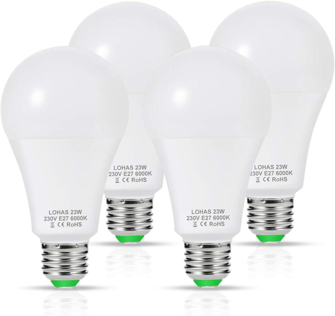 LOHAS Bombilla LED E27, 23W Bombilla LED Equivalent a 200W Incandescente Bombilla, Blanco Frío 6000K, 2500 Lúmenes, 240 ° Ángulo de Haz, Bombilla de Bajo Consumo, No-regulable, Paquete de 4 Unidades