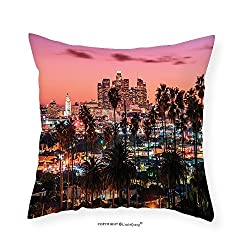 VROSELV Custom Cotton Linen Pillowcase United States Vibrant Sunset Twilight Scenery Los Angeles Famous Downtown with Palm Trees for Bedroom Living Room Dorm Multicolor 16x16