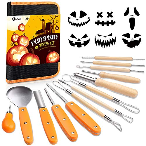 D-FantiX Halloween Pumpkin Carving Kit, 13 Pieces Professional Stainless Steel Pumpkin Carving Tools Kit with Stencils and Carrying Case - Carve Sculpt Jack-O-Lanterns Halloween Decoration DIY (Pumpkin Carving Patterns Happy Halloween)