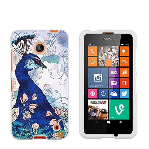 Protective Case for Nokia Lumia 630 635 Slim Two Piece Snap On Hard Plastic Rubberize Feel Durable Drop Proof Blue Peacock (630 Phone Cell Nokia Case)