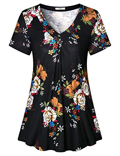 Viracy Womens Tunics to Wear with Leggings, Female Casual Dressy Pesant Tops Plus Size Fashionable Floral Flattering Blouse Ruched Knitted T Shirt Comfy Stretchy Boho Dress Daily Wear Black 2XL -