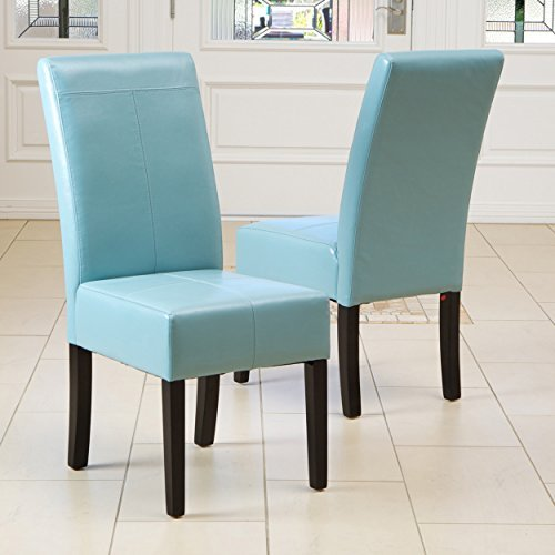 Stella Teal Blue Leather Dining Chair (Set of (Bonded Leather Parson Chair)