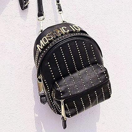 Vintage Mochila Británica Esplendor Remaches De Personalidad Negro ...