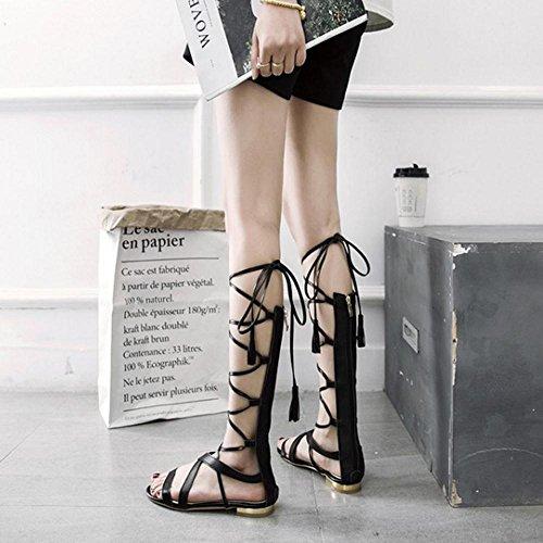 Donna Zip Black Sandali Gladiatore TAOFFEN 8nZdqwx8