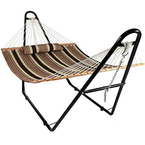 Sunnydaze Quilted Double Fabric 2-Person Hammock with Multi-Use Universal Steel Stand, Sandy Beach, 440 Pound Capacity