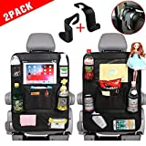 "Car Back Seat Organizer for Kids Car Organizer Kick Mats with 10"" Touch Screen Tablet Holder + 11 Storage Pockets Car Back Seat Protector Car Travel Accessories for Toddlers Toys (2 Pack)"