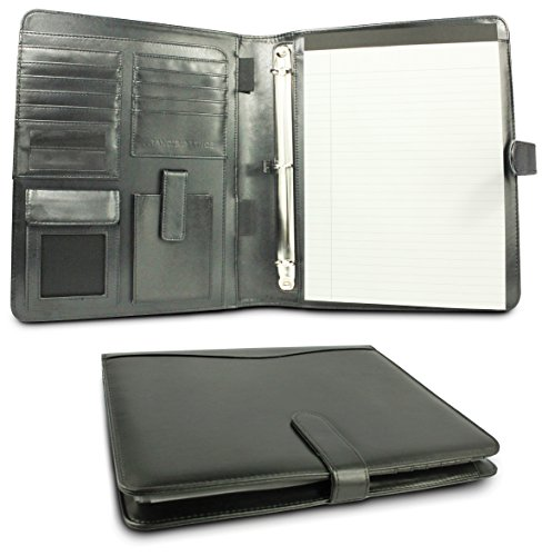 Ring Binders Presentation 3 - France & Vince Handcrafted PU Leather Removable 3-Ring Binder Padfolio with Notepad and Presentation Sheet Protectors