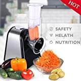 vegetable slicer 5 cone - Tomasar Electric Vegetable Slicer, Professional Electric Slicer/Shredder with One-Touch Control and 5 Free Attachments for Fruits, Vegetables, and Cheeses (Slicer Machine)