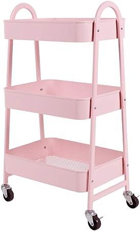 DJZWJ Estantería de Pared Estantes for baño, Estante móvil Trolley IKEA con Ruedas Dormitorio Cocina Almacenamiento Belleza Multi-Capa Girl Push Storage Shelf (Color : UNA): Amazon.es: Hogar