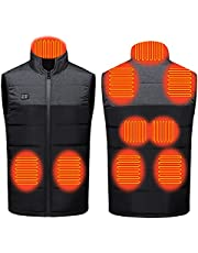 Heated Vest 9 Heating Zones, 2 Separate Controller, USB Lightweight Electric Jacket for Men (Battery Pack Not Included)