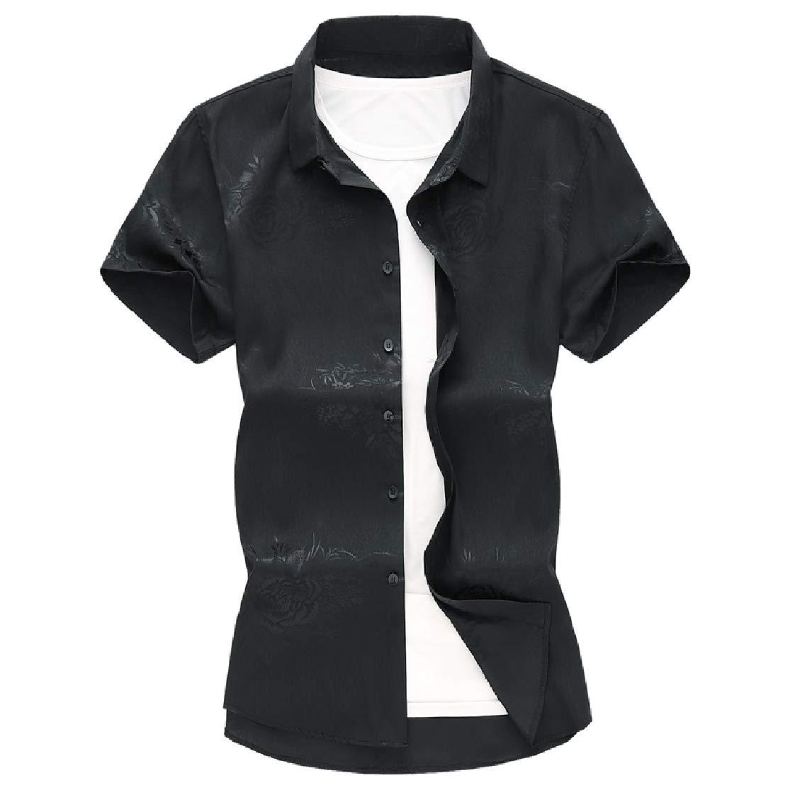 KLJR Men Jacquard Button Front Slim Short Sleeve Big /& Tall Shirts