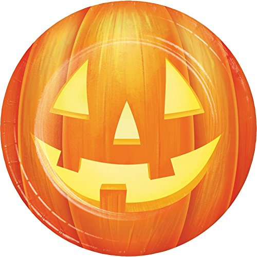 (Pack of 96 Orange Jack-O'-Lantern Disposable Round Party Luncheon Plate)