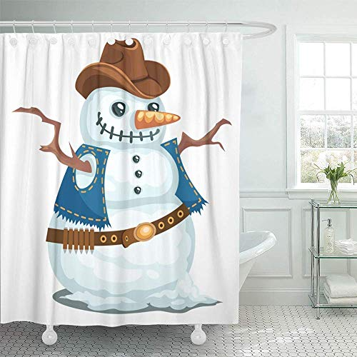 Decorative Shower Curtain Cowboy Snowman in The Western Style Hat Christmas Man Snow Bandoleer Branches 72
