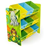Rostrad   KIDS CHILDRENS JUNGLE SAFARI 3 TIER TOY STORAGE SET 9 BINS BASKETS BOOKS SHOES
