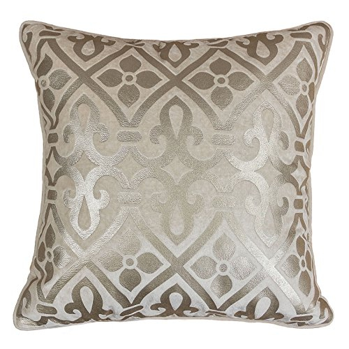 Homey Cozy Foil Applique Mocha Throw Pillow Cover,Gold Series Vintage Godines Luxury Silk Blush Brown Velvet Sofa Couch Decorative Pillow Case 20x20,Cover Only