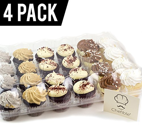 Chefible Premium 24 Compartment Cupcake Container- Set of 4 (24 Compartment High Dome, Set of 4)