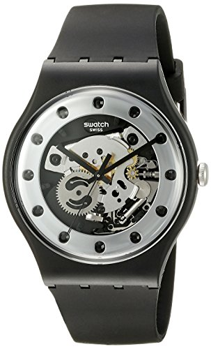 Swatch Unisex SUOZ147 Silver Glam Analog Display Quartz Black - Men Swatch For