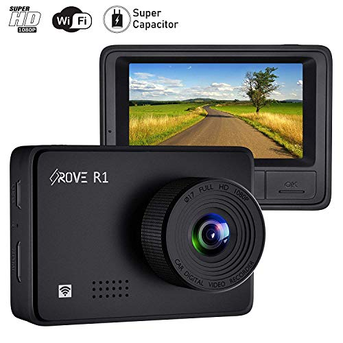 Rove R1 Dash Cam with WiFi and Sony IMX323 Sensor 1080p FHD Dash Camera for Cars WDR, SuperCapacitors, G-Sensor, 24-HR Parking Monitor, Loop Recording, 2.45