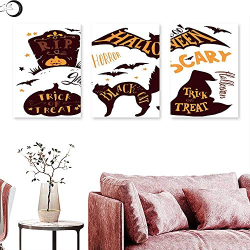 J Chief Sky Vintage Halloween Wall hangings Halloween Symbols Trick or Treat Bat Tombstone Ghost Candy Scary Wall Panel Art Dark Brown Orange Triptych Art Canvas W 12