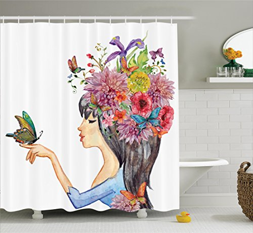 Ambesonne Watercolor Flower Decor Collection, Floral Head Cute Girl Holding Butterfly Romantic Feminine Spring Symbole Art Print, Polyester Fabric Bathroom Shower Curtain Set with Hooks, Multi
