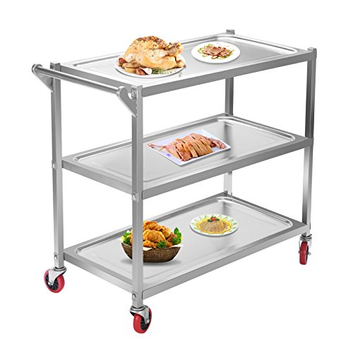Mophorn 3 Shelf Stainless Steel Cart capacity 330Lbs Utility Cart on Wheels Heavy Duty kitchen cart for Kitchen Commercial Hotel Restaurant Dining Area Utility Serving (3 Shelf with - Bottom Shelf Tub Utility Cart