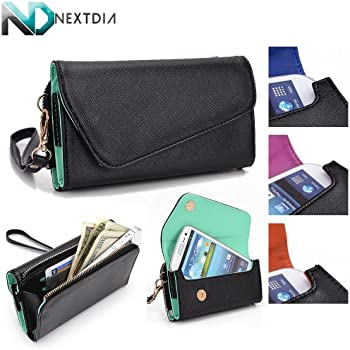 HTC Desire 501 Womens Wristlet Clutch Case {Semi-Gloss Black with Matte Siren Green} with Credit Card Holder