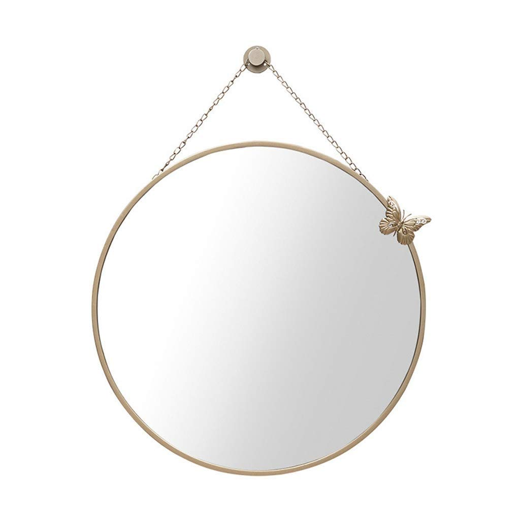 JIANPING Wall Mirror Round Metal Simple Wall Hanging Bedroom Living Room Vanity Mirror Wall Mirror (Color : Gold, Size : 60cm) by JIANPING