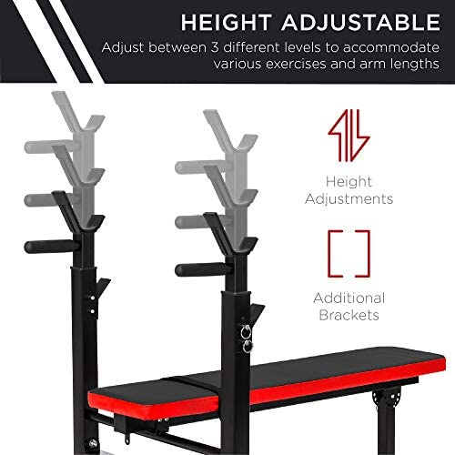 Best Choice Products Adjustable Folding Fitness Barbell Rack & Weight Bench Set for Home Gym, Strength Training w/Incline & Decline Capability, Padded Faux Leather, Easy Storage - Black/Red 3