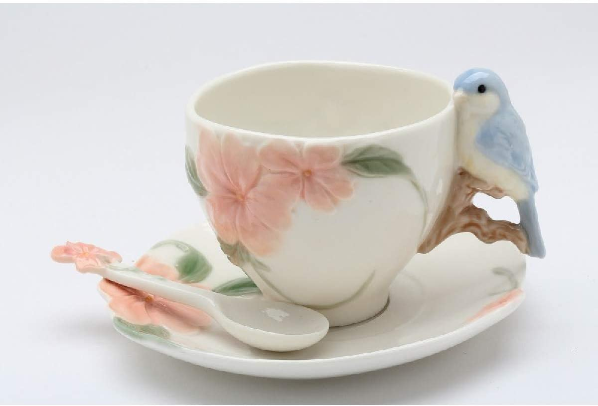 Cosmos Gifts 20905 Blue Bird Apple Blossom 6-pc Set (2 Each of Cup & Saucer w/Spoon) Cup: 6 oz, White