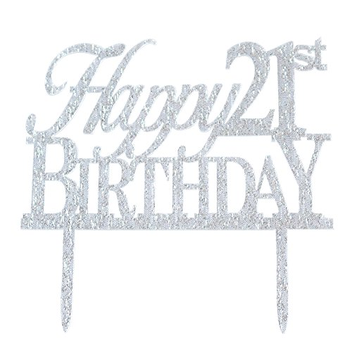 Glitter Silver Acrylic Happy 21st Birthday Cake Topper Decoration 21 Anniversary Party Cupcake