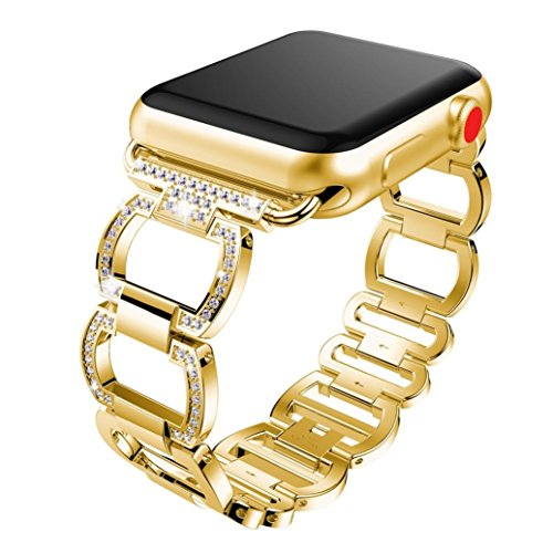 Gold Ladies Watch Band (Becoler Stainless Steel Wristband Alloy Crystal Replacement for Apple Watch 1/2/3 38mm)