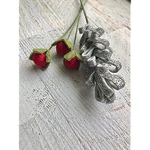 Wool Felt Flowers - Winter Flowers - Metallic Silver Snowflakes - 19 Flowers & 24 leaves - Create Headbands, DIY Wreaths, Felt Garlands 3