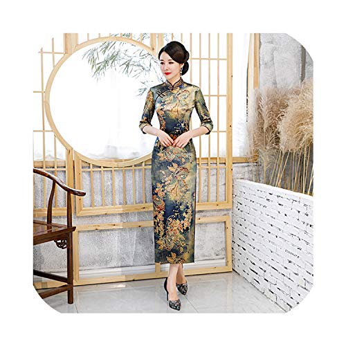 Visible Wind Gold Velvet Cheongsam Winter Female Retro Sleeves Improved Cheongsam Dress,Picture Color,XXXL