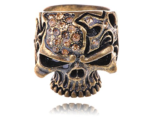 Alilang Gothic Design Brass Tone Cute Topaz Rhinestone Skull Sized Ring