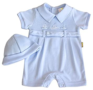 7702180d7 Baby boy nautical romper suit and hat BLUE 0-3 months: Amazon.co.uk: Baby