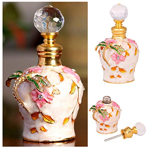 Enameled Perfume Bottle - YU FENG 5ml Decorative Glass Perfume Bottles with Metal Outer Covering of Hand-Paint Enameled Dragonfly Figurine for Women or Girls