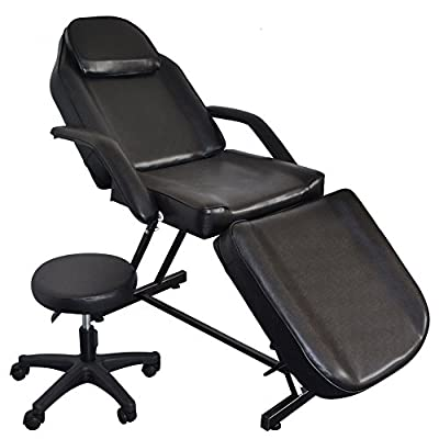 "Mefeir 73"" Adjustable Salon Barber Chair Massage Beauty Bed with Hydraulic Stool Facial Tattoo Acupuncture Chair Black"