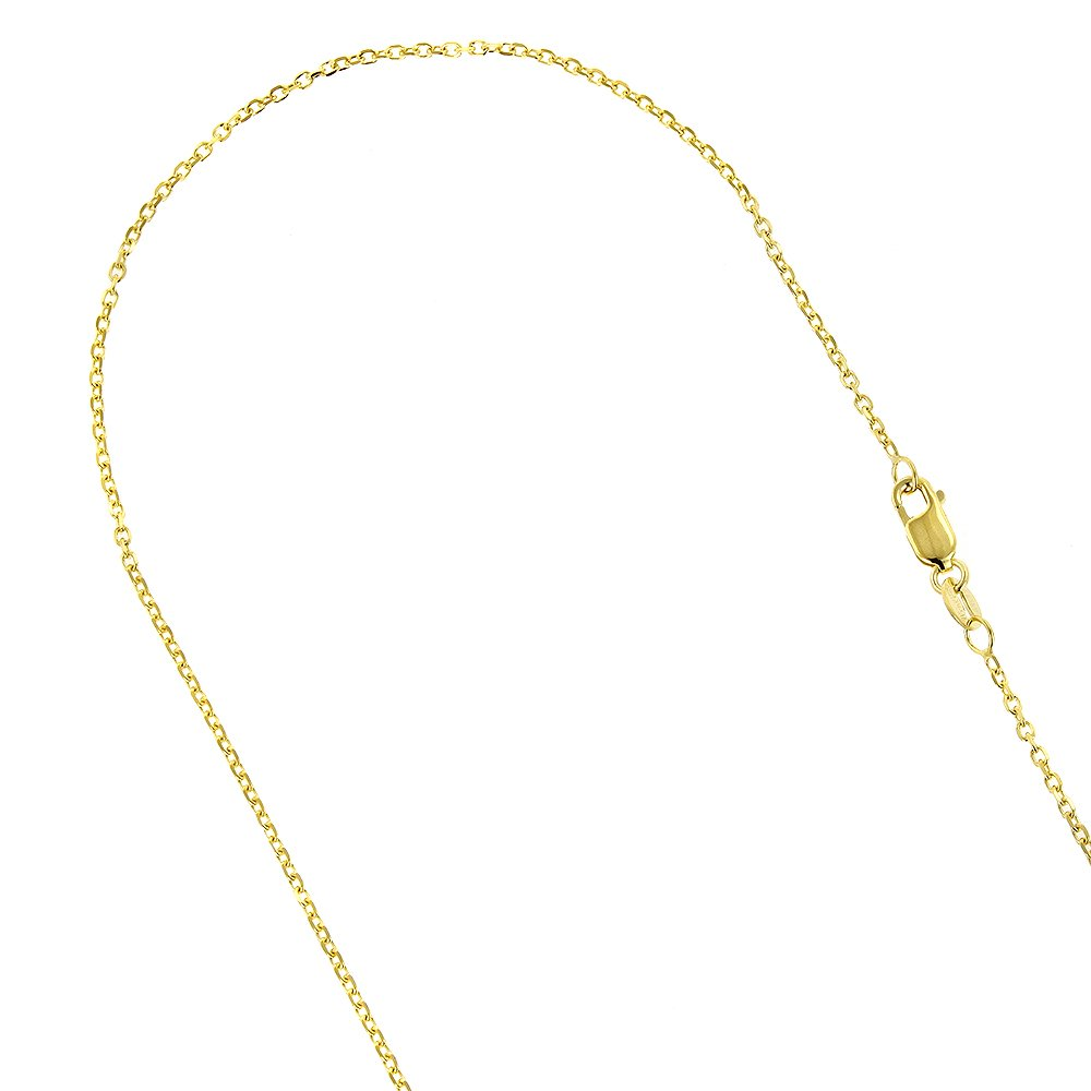 Luxurman 14K Solid Yellow Gold 1.1mm Wide Diamond Cut Cable Link Chain 16'' Necklace with Lobster Clasp