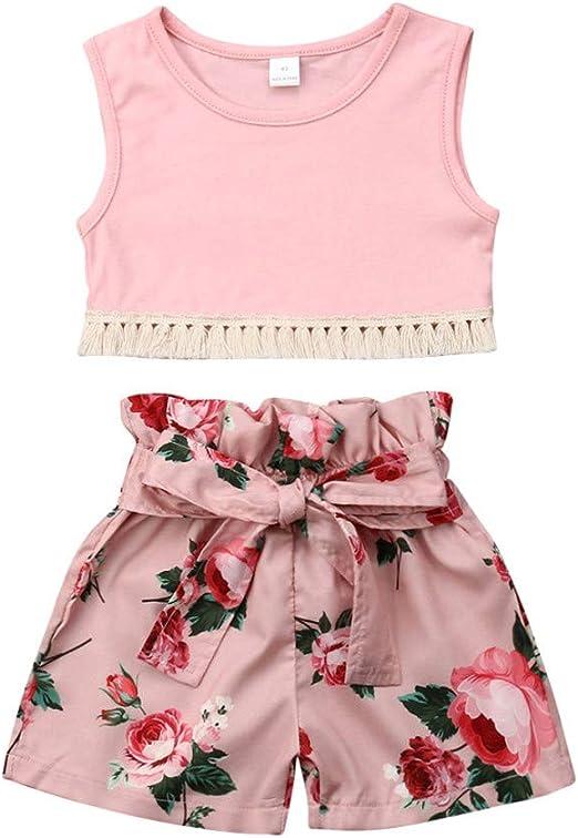 Shuweienphant Baby Girls Sleeveless Suspender Romper Flower Print Jumpsuit One Piece Outfits Summer Clothes