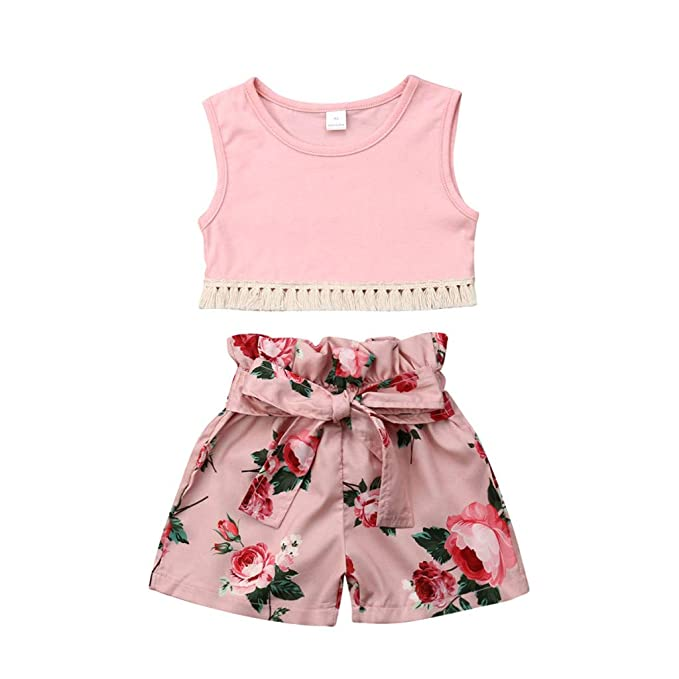1532f56cb5de UOMOGO® Bambini Estate Abiti Neonata Bambino Senza Maniche Vestiti  Maglietta+ Set Pantaloni