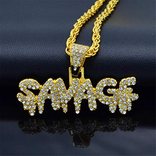 Gold Plated Micropave Simulated Diamond Iced Out Bling Bubble Letters Savage Dripping Initial Pendant Necklace Chain for Hip Hop Rapper