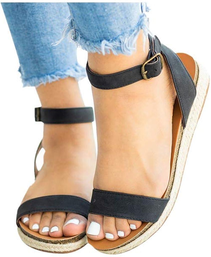 Dorical Mujer Sandalias de Planas Correa Tobillo Elástico Punta Abierta Verano para Mujer andalias con Punta Abierta para Niñas Tiras mujer hebilla trenzada sandalias zapatos romanos