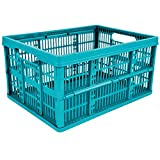 10 x 32L Plastic Folding Storage Container Basket Crate Box Stack Foldable Portable BLUE