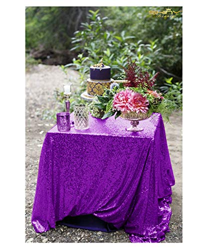 ShinyBeauty Purple Sequin Tablecloth-48x48-lnch-Premium Quality Square Glitz Sequin Table Linen Sequin Table Overlay for Wedding Party Decoration ()