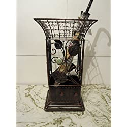Square Metal Wrought Iron Umbrella Holder Stand, Antique Style Look