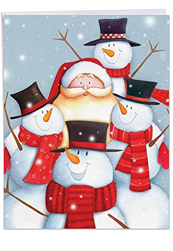Supersized 'Santa Selfies' Merry Christmas Holiday Card with Envelope 8.5 x 11 Inch - Santa Selfie with Three Smiling Snowmen - Large Stationery Greeting Card, Present, Gift J6738HXSG ()