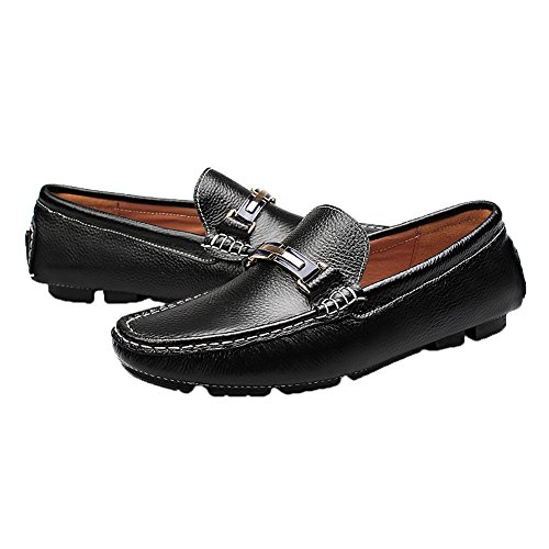rismart Loafers US7 Mens Fashion Black Casual Genuine Leather Slip on 9927 Shoes qrpqBf